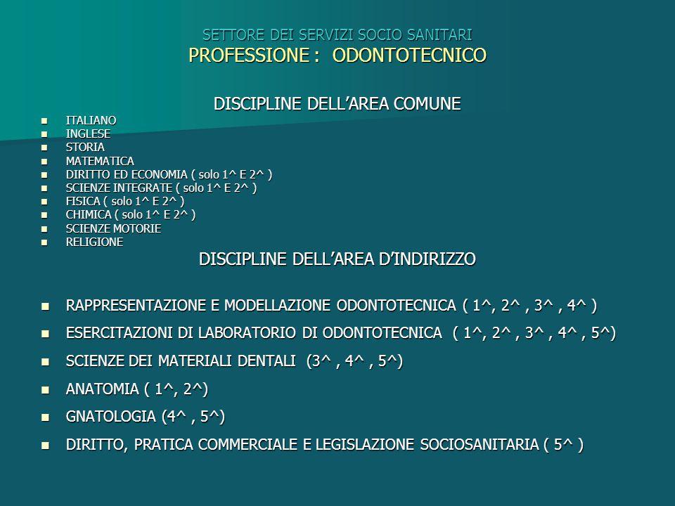 SETTORE DEI SERVIZI SOCIO SANITARI PROFESSIONE : ODONTOTECNICO