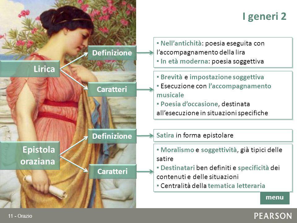 I generi 2 Lirica Epistola oraziana Definizione Caratteri Definizione