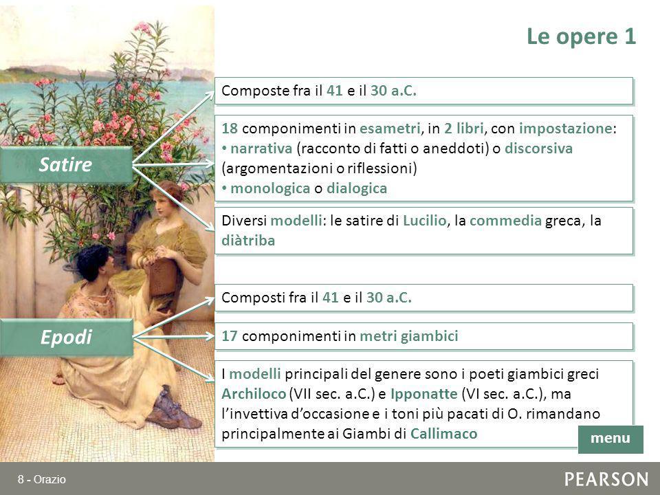 Le opere 1 Satire Epodi Composte fra il 41 e il 30 a.C.