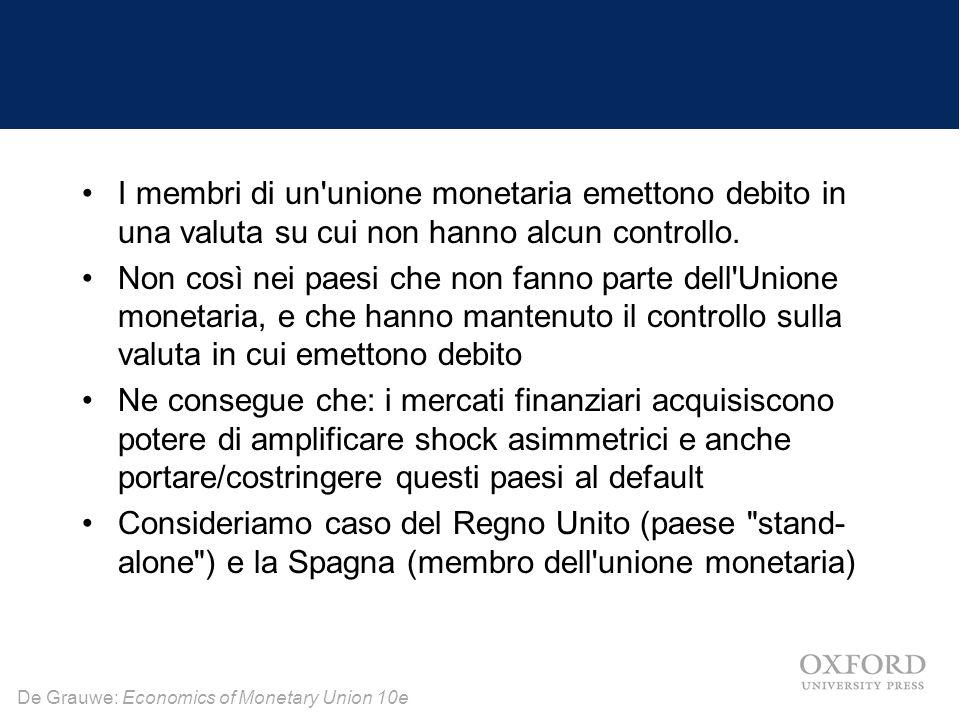 I membri di un unione monetaria emettono debito in una valuta su cui non hanno alcun controllo.