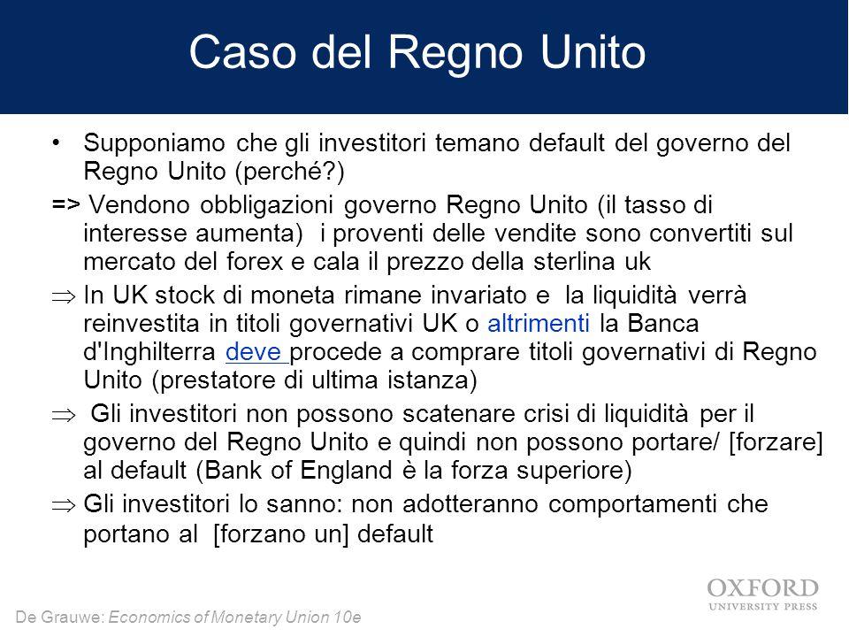 Caso del Regno Unito Supponiamo che gli investitori temano default del governo del Regno Unito (perché )