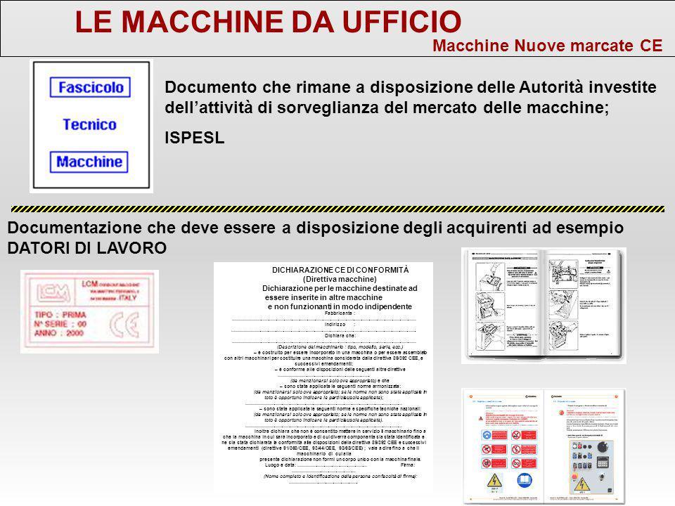 LE MACCHINE DA UFFICIO Macchine Nuove marcate CE