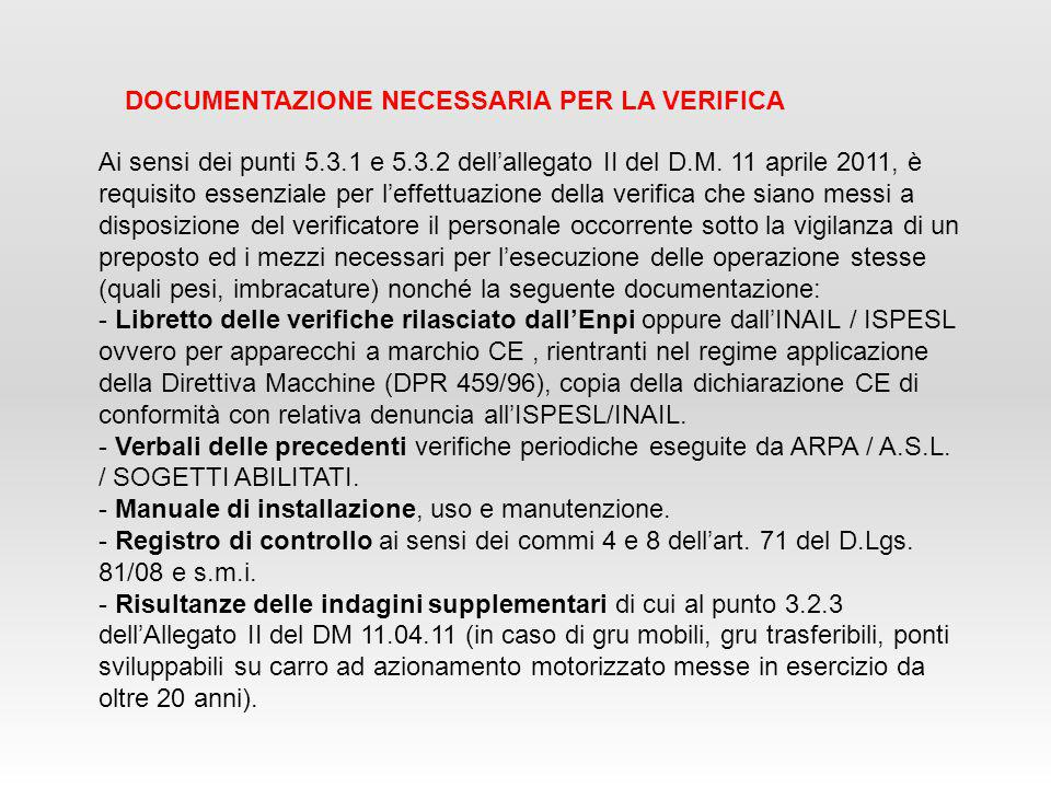 DOCUMENTAZIONE NECESSARIA PER LA VERIFICA