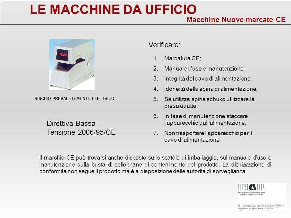 LE MACCHINE DA UFFICIO Macchine Nuove marcate CE Verificare: