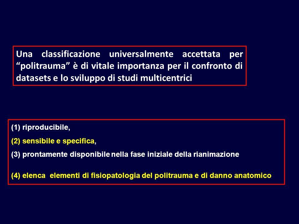 Una classificazione universalmente accettata per politrauma è di vitale importanza per il confronto di datasets e lo sviluppo di studi multicentrici