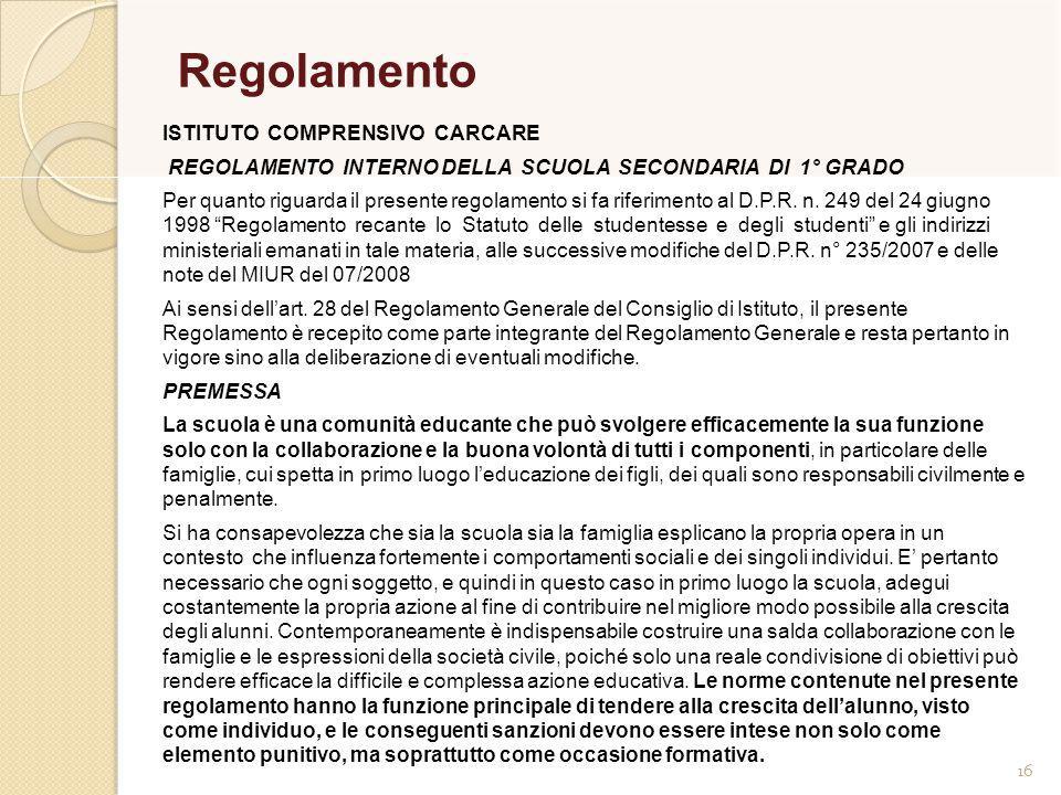 Regolamento ISTITUTO COMPRENSIVO CARCARE
