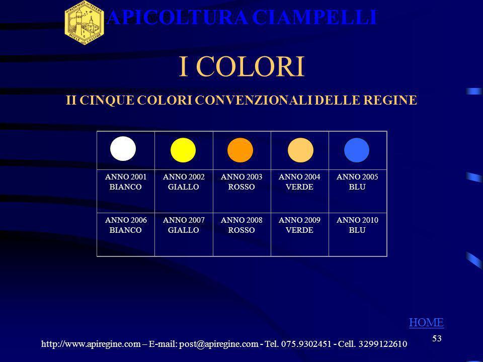 II CINQUE COLORI CONVENZIONALI DELLE REGINE