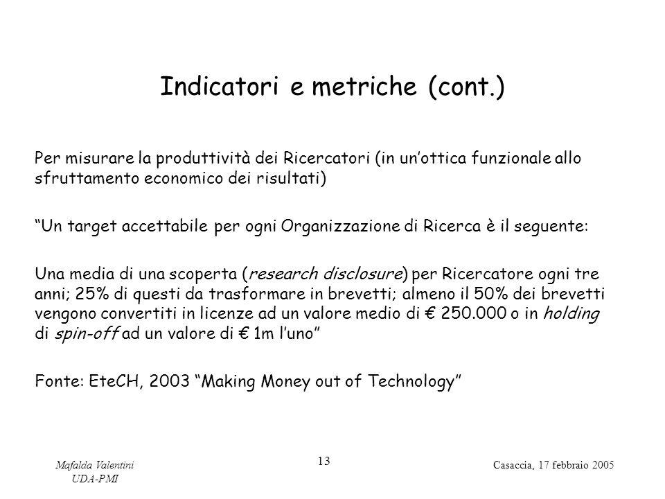 Indicatori e metriche (cont.)