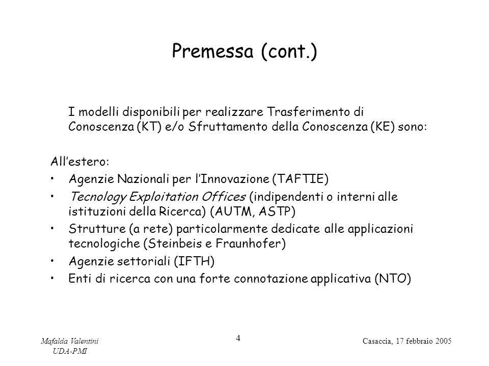 Premessa (cont.) I modelli disponibili per realizzare Trasferimento di Conoscenza (KT) e/o Sfruttamento della Conoscenza (KE) sono: