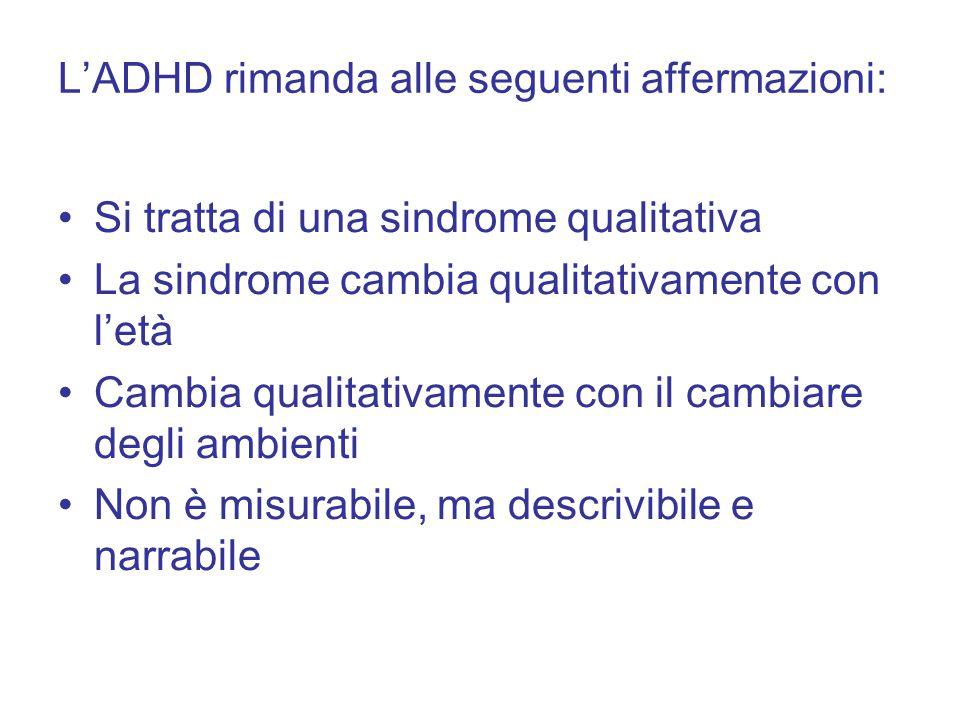 L'ADHD rimanda alle seguenti affermazioni: