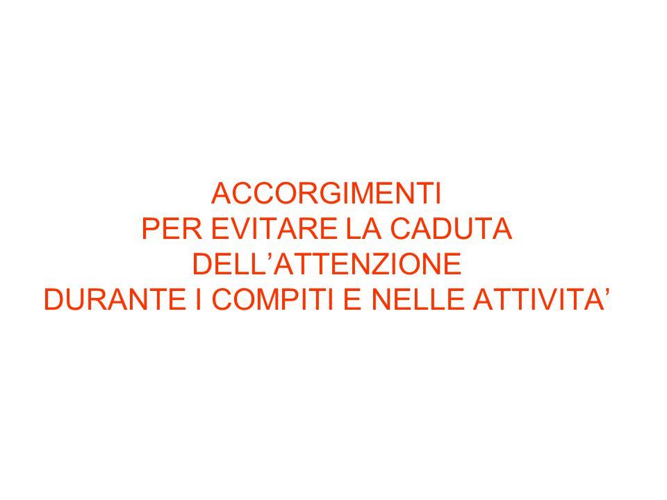 ACCORGIMENTI PER EVITARE LA CADUTA DELL'ATTENZIONE DURANTE I COMPITI E NELLE ATTIVITA'
