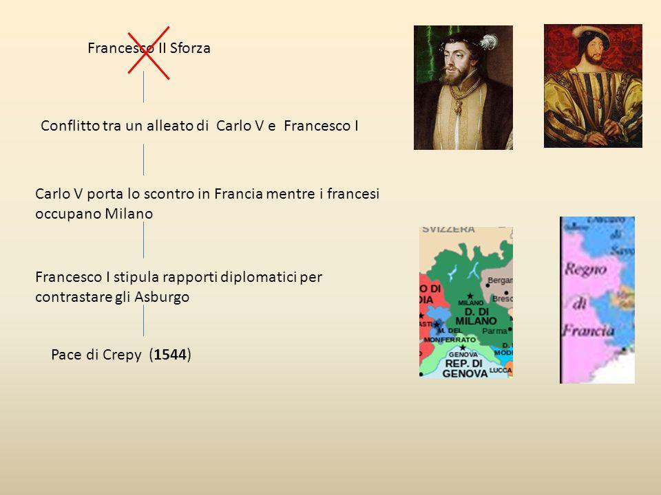 Francesco II Sforza Conflitto tra un alleato di Carlo V e Francesco I. Carlo V porta lo scontro in Francia mentre i francesi occupano Milano.