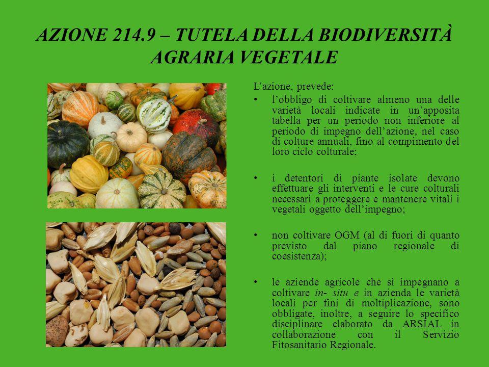 AZIONE 214.9 – TUTELA DELLA BIODIVERSITÀ AGRARIA VEGETALE