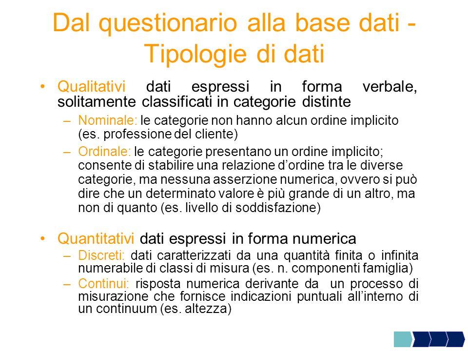 Dal questionario alla base dati -Tipologie di dati