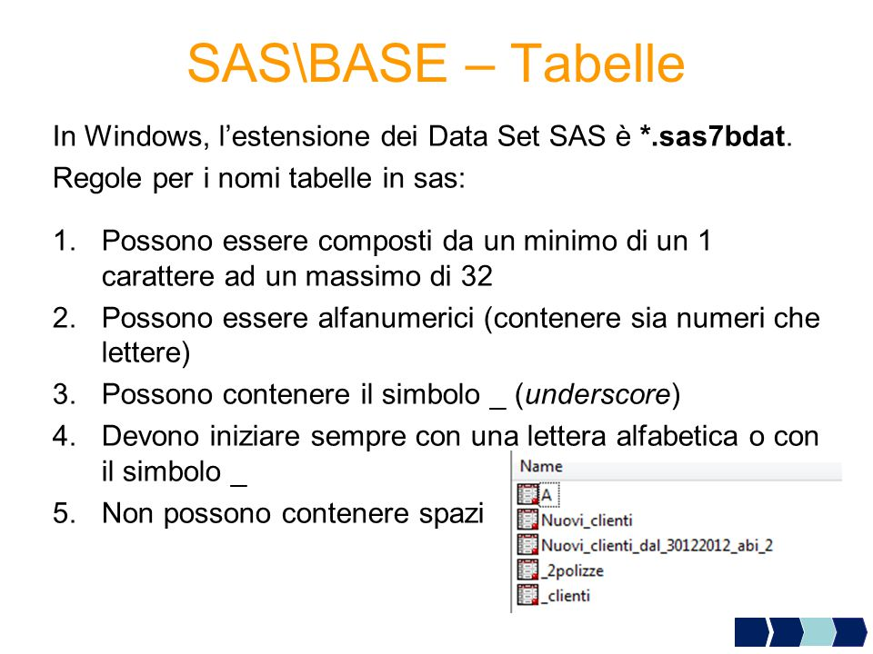 SAS\BASE – Tabelle In Windows, l'estensione dei Data Set SAS è *.sas7bdat. Regole per i nomi tabelle in sas: