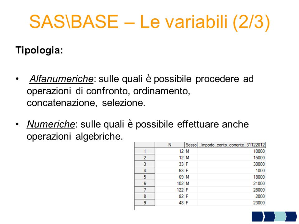 SAS\BASE – Le variabili (2/3)