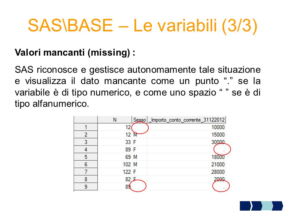 SAS\BASE – Le variabili (3/3)