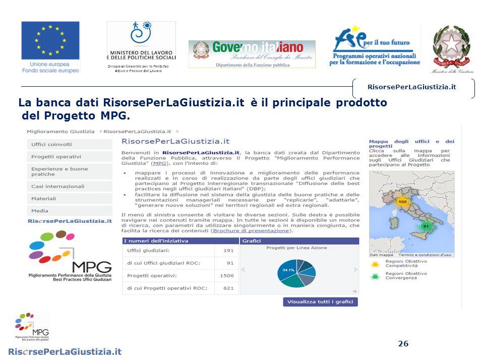 RisorsePerLaGiustizia.it La banca dati RisorsePerLaGiustizia.it è il principale prodotto del Progetto MPG.