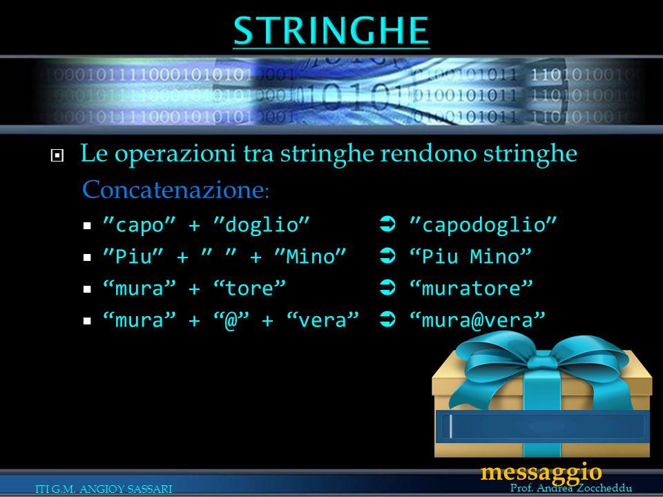 STRINGHE Le operazioni tra stringhe rendono stringhe Concatenazione: