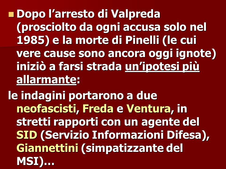Dopo l'arresto di Valpreda (prosciolto da ogni accusa solo nel 1985) e la morte di Pinelli (le cui vere cause sono ancora oggi ignote) iniziò a farsi strada un'ipotesi più allarmante: