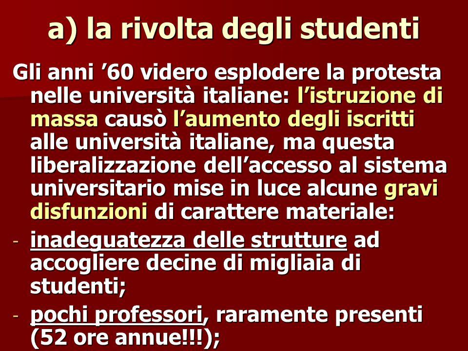a) la rivolta degli studenti