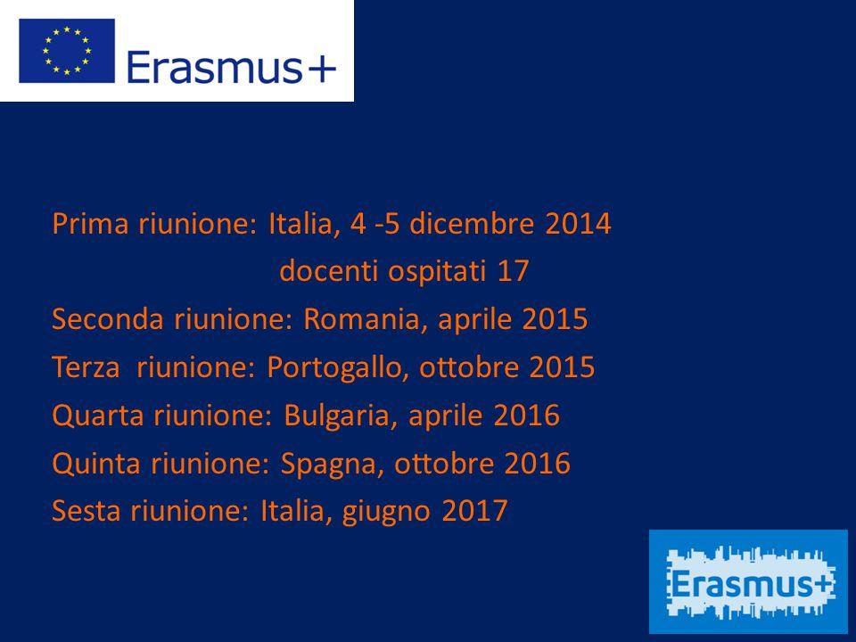 Prima riunione: Italia, 4 -5 dicembre 2014 docenti ospitati 17 Seconda riunione: Romania, aprile 2015 Terza riunione: Portogallo, ottobre 2015 Quarta riunione: Bulgaria, aprile 2016 Quinta riunione: Spagna, ottobre 2016 Sesta riunione: Italia, giugno 2017