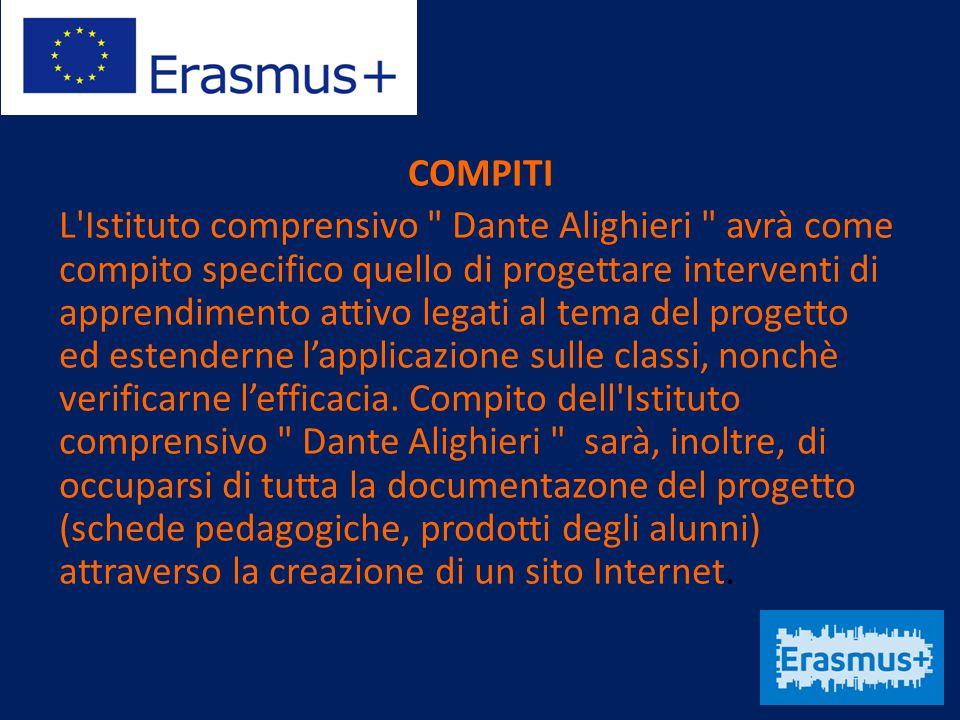 COMPITI L Istituto comprensivo Dante Alighieri avrà come compito specifico quello di progettare interventi di apprendimento attivo legati al tema del progetto ed estenderne l'applicazione sulle classi, nonchè verificarne l'efficacia.