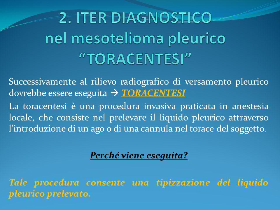 2. ITER DIAGNOSTICO nel mesotelioma pleurico TORACENTESI