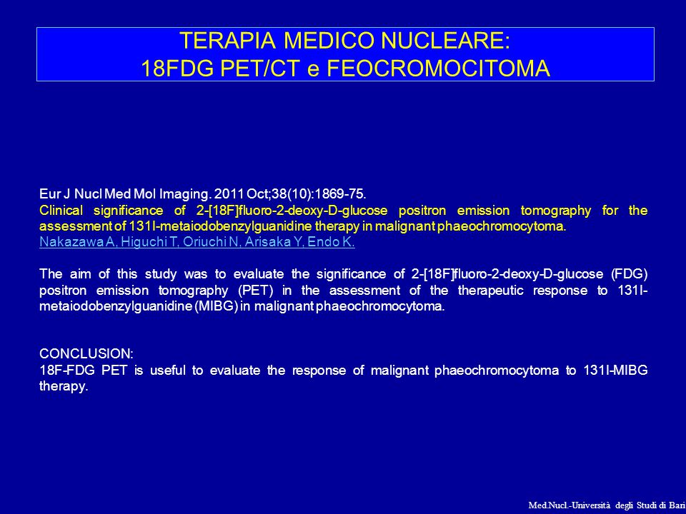 TERAPIA MEDICO NUCLEARE: 18FDG PET/CT e FEOCROMOCITOMA