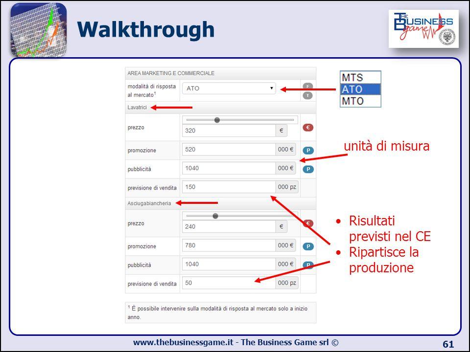 Walkthrough unità di misura Risultati previsti nel CE