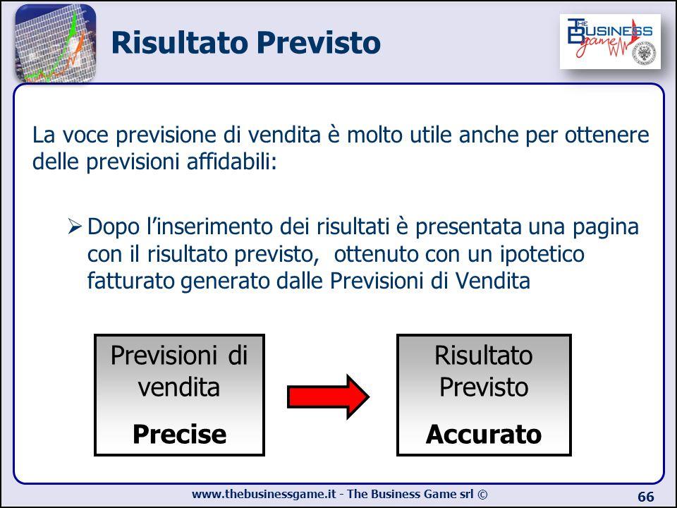 Risultato Previsto Previsioni di vendita Precise Risultato Previsto