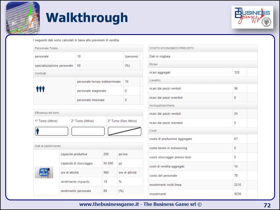 Walkthrough Viene presentato un riassunto di alcune variabili di ingresso che andranno a definire la produzione.