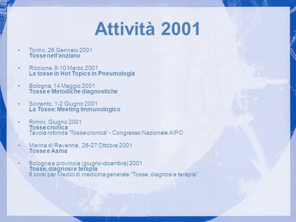 Attività 2001 Torino, 26 Gennaio 2001 Tosse nell'anziano