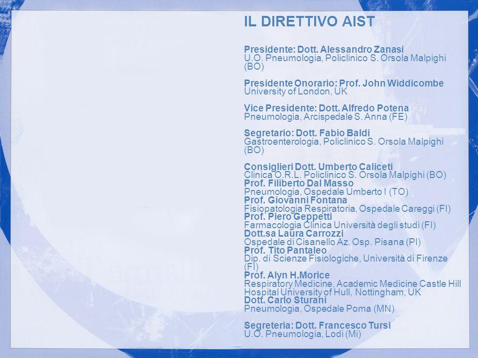 IL DIRETTIVO AIST Presidente: Dott. Alessandro Zanasi U.O. Pneumologia, Policlinico S. Orsola Malpighi (BO)
