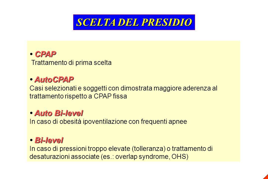 SCELTA DEL PRESIDIO • CPAP • AutoCPAP • Auto Bi-level • Bi-level