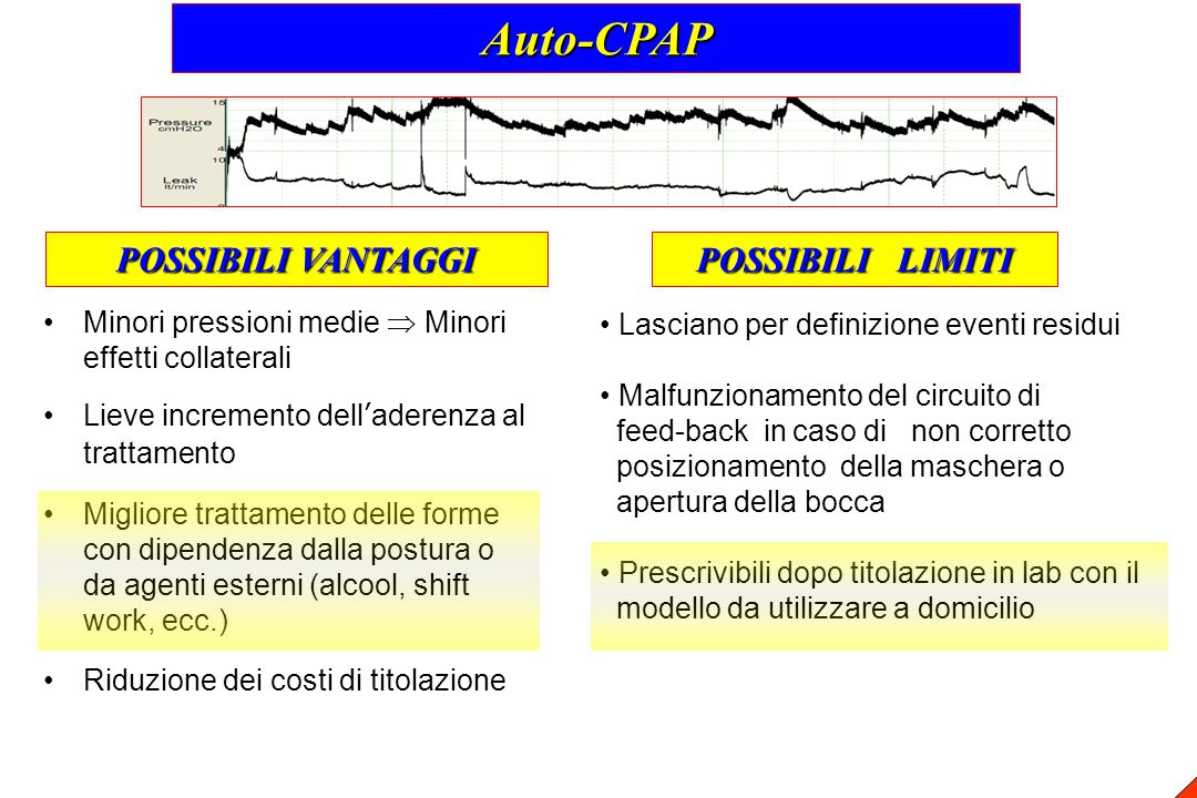 Auto-CPAP POSSIBILI VANTAGGI POSSIBILI LIMITI
