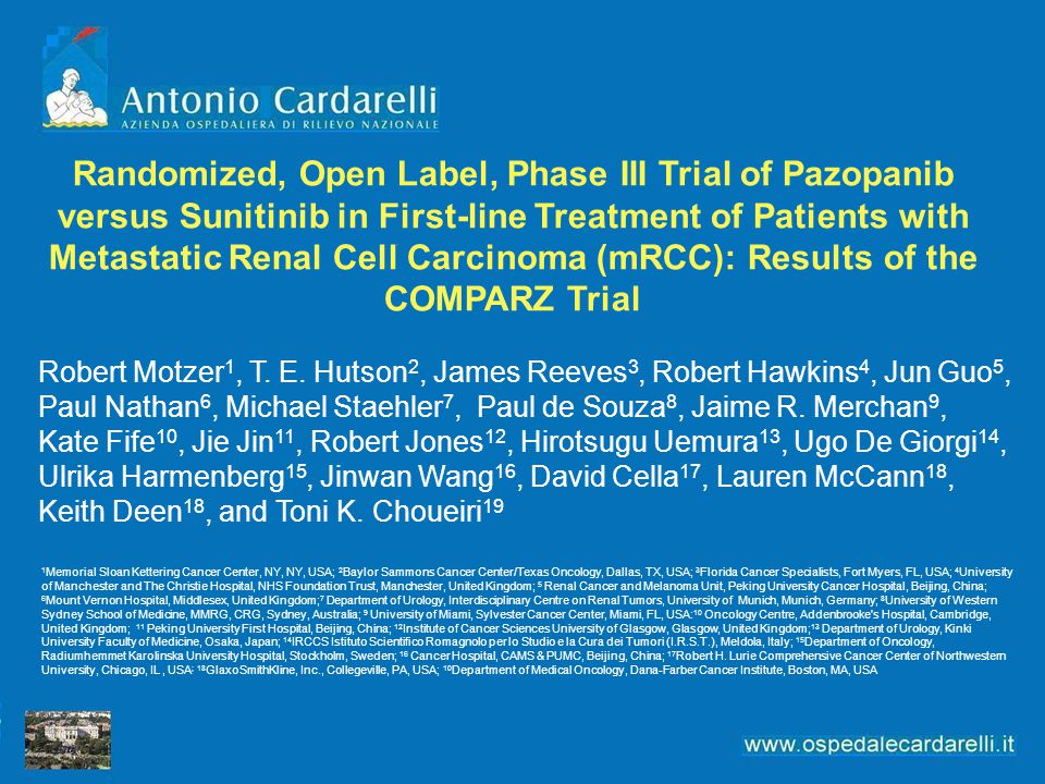 Randomized, Open Label, Phase III Trial of Pazopanib versus Sunitinib in First-line Treatment of Patients with Metastatic Renal Cell Carcinoma (mRCC): Results of the COMPARZ Trial