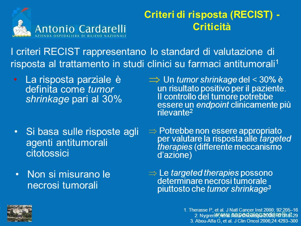 Criteri di risposta (RECIST) - Criticità