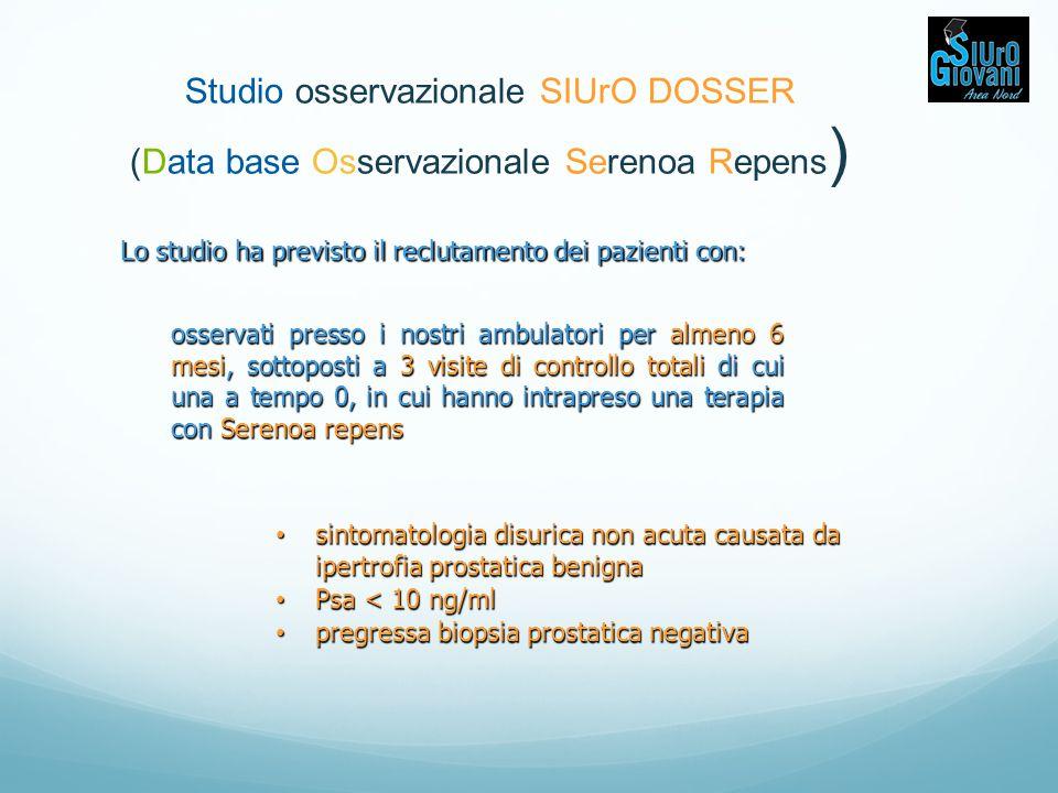 Studio osservazionale SIUrO DOSSER (Data base Osservazionale Serenoa Repens)