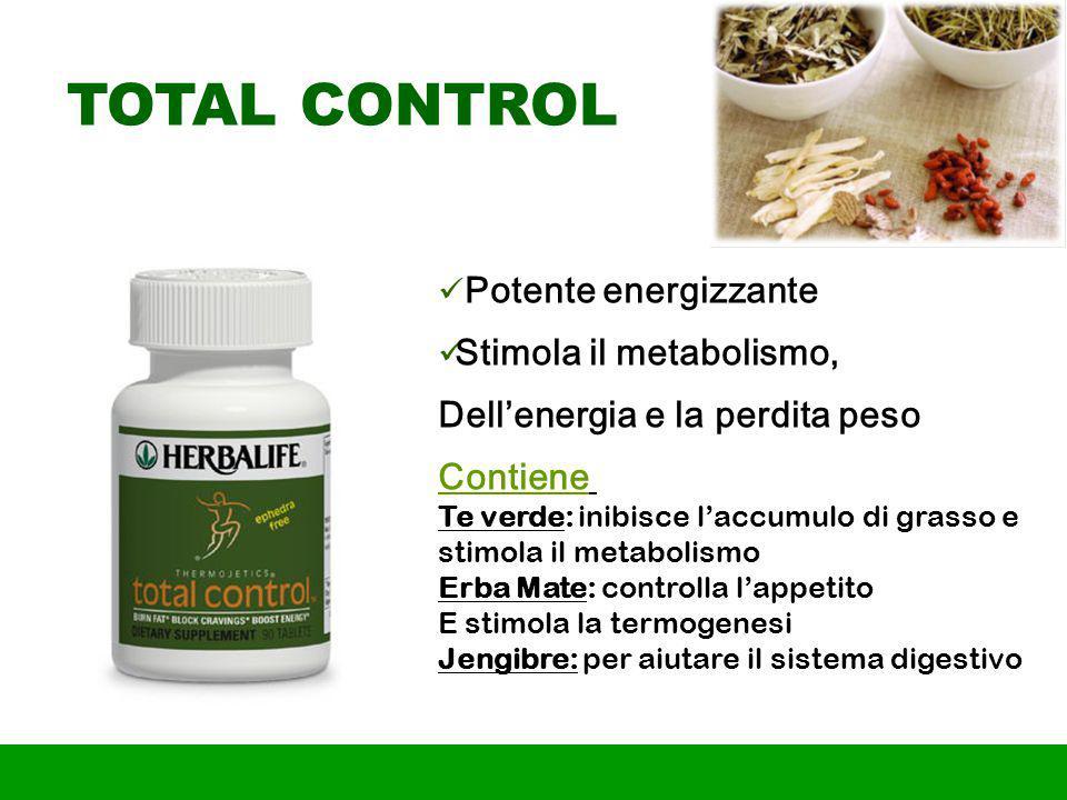 TOTAL CONTROL Potente energizzante Stimola il metabolismo,