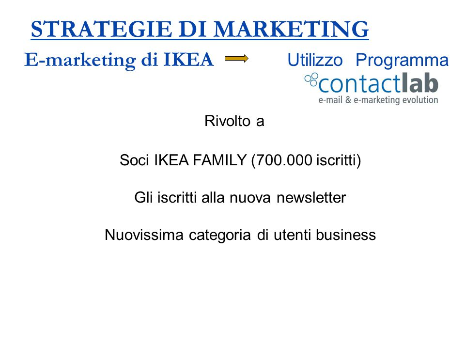 STRATEGIE DI MARKETING E-marketing di IKEA Utilizzo Programma