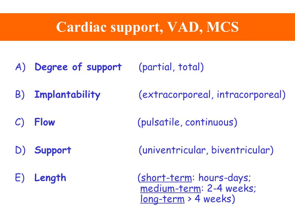 Cardiac support, VAD, MCS