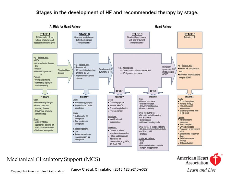 Stages in the development of HF and recommended therapy by stage.