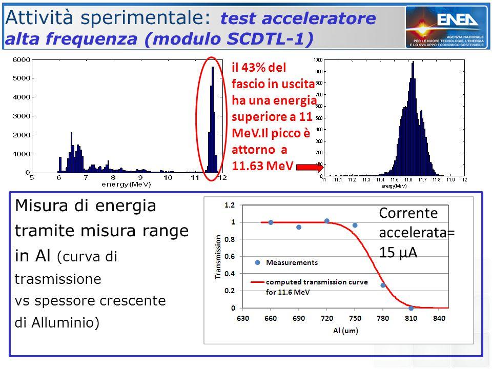Attività sperimentale: test acceleratore