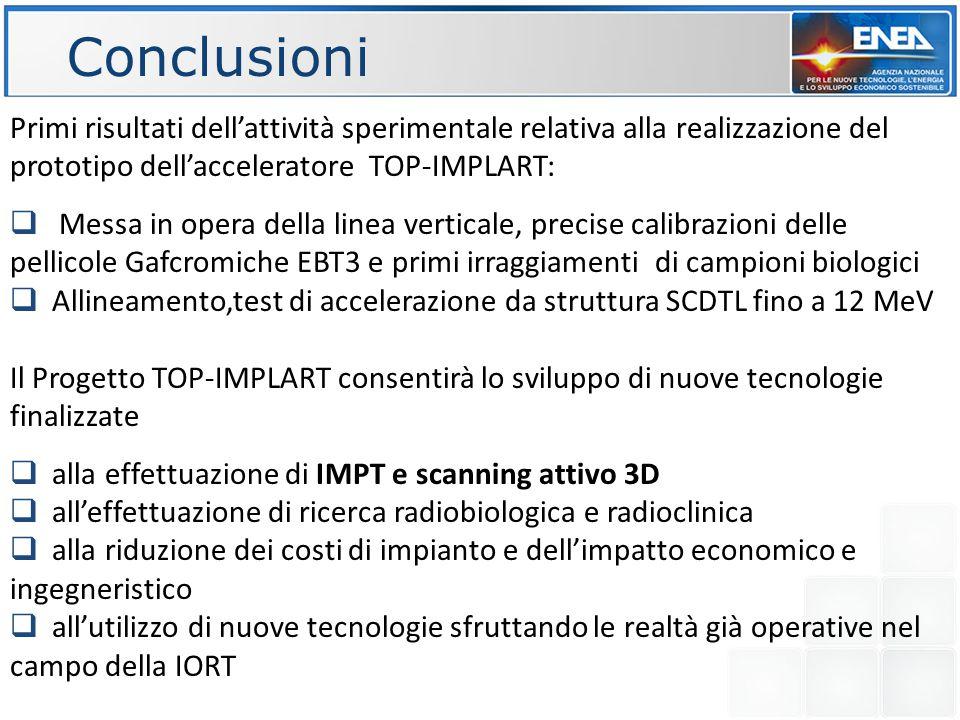 Conclusioni Primi risultati dell'attività sperimentale relativa alla realizzazione del prototipo dell'acceleratore TOP-IMPLART:
