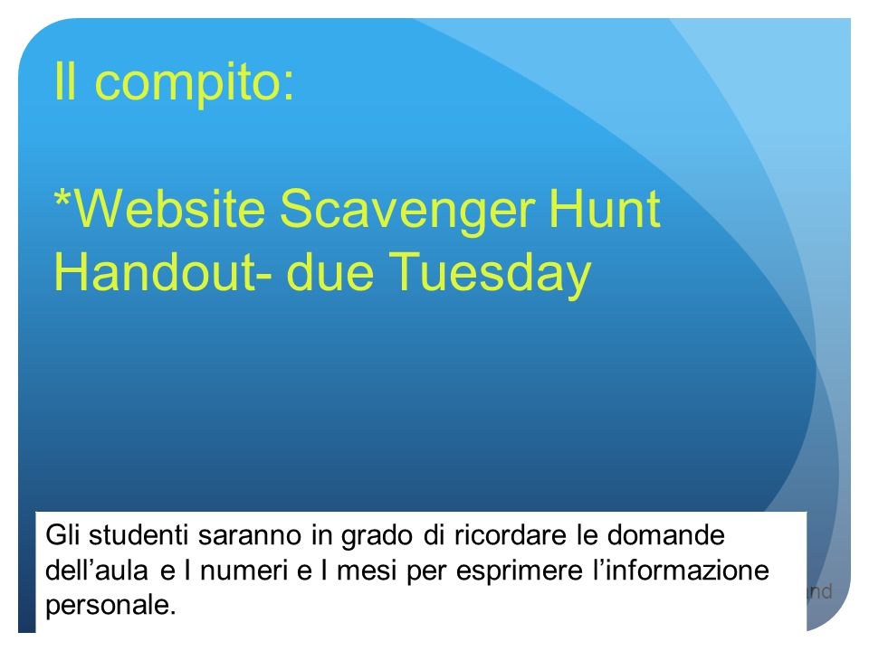 *Website Scavenger Hunt Handout- due Tuesday