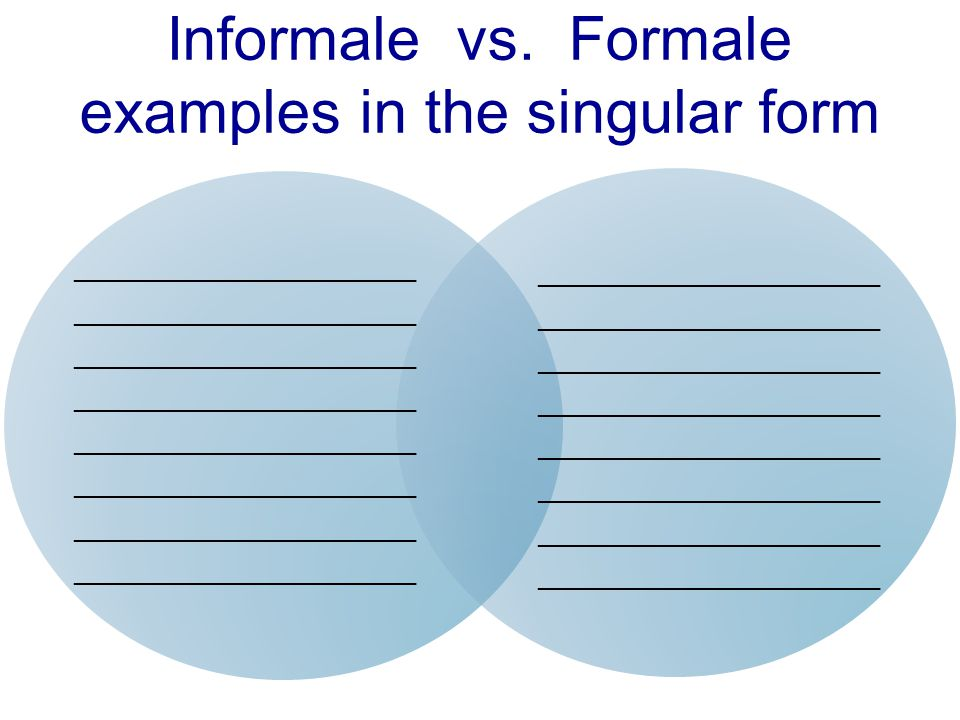 Informale vs. Formale examples in the singular form