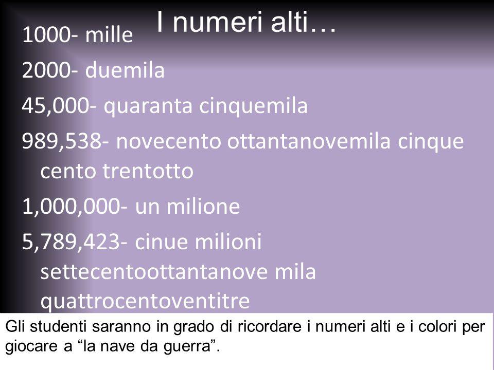 I numeri alti… 1000- mille 2000- duemila 45,000- quaranta cinquemila