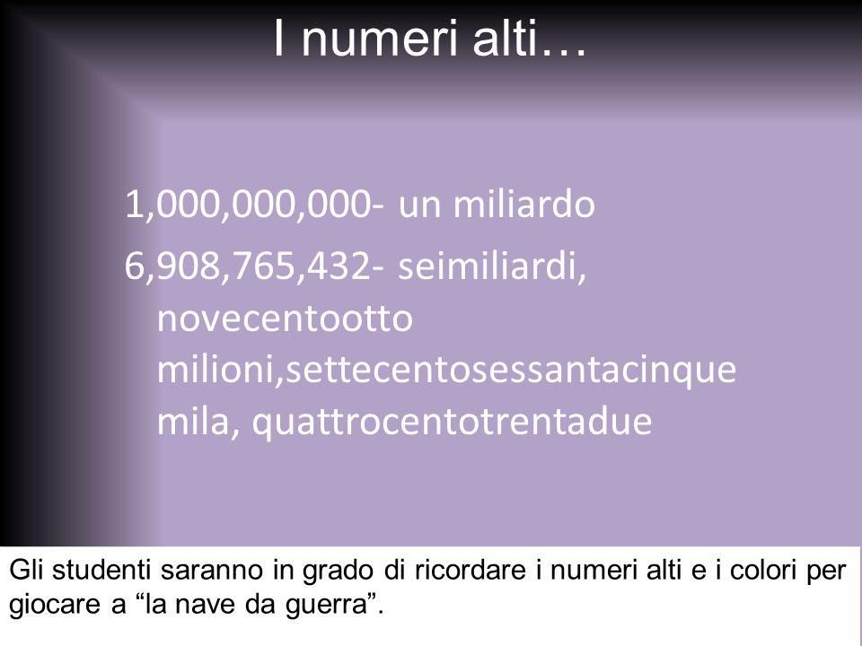 I numeri alti… 1,000,000,000- un miliardo