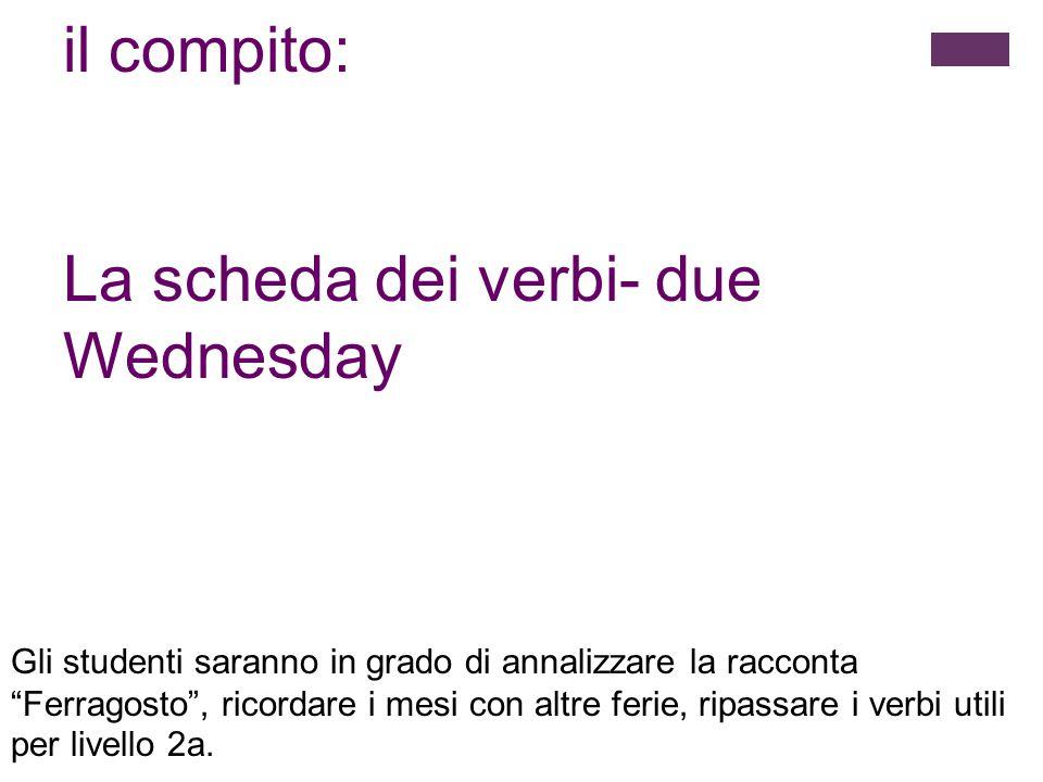 La scheda dei verbi- due Wednesday